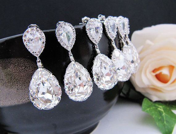 Bridal Earrings Bridesmaid Earrings: Jewelry Bridal, Wedding, Bridesmaid Jewelry, Earrings Bridesmaid, Earrings Clear, Bridesmaid Earrings, Bridal Earrings, Bridesmaid Gift
