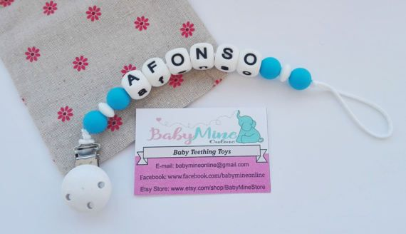 Name Silicone Pacifier Clip   chew beads  by BabyMineStore on Etsy