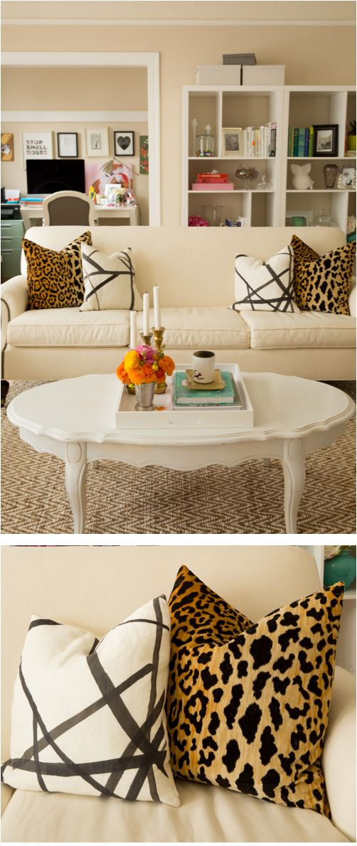 Juliau0027s Living Room // Leopard Velvet And Channels Ebony And Ivory Pillows