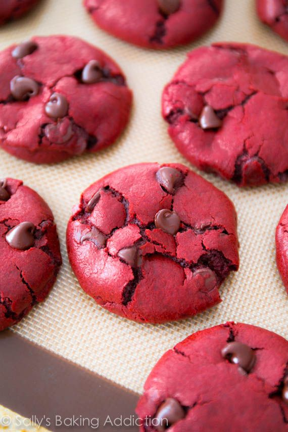 Red Velvet Chocolate Chip Cookies #recipe #cookies  | Valentine's Day Recipes, ideas, food, treats, desserts | I love red!