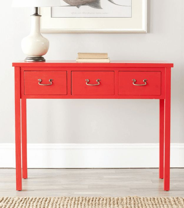 bright red console table, pantone grenadine