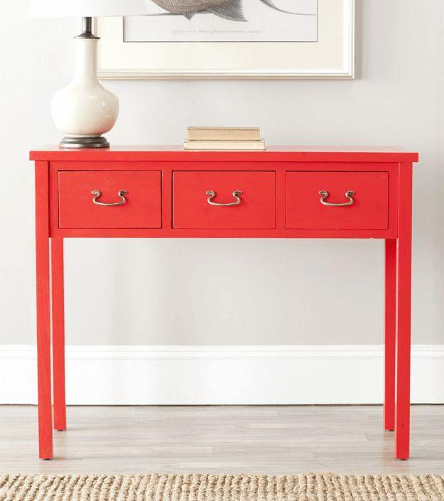bright red console table, pantone grenadine