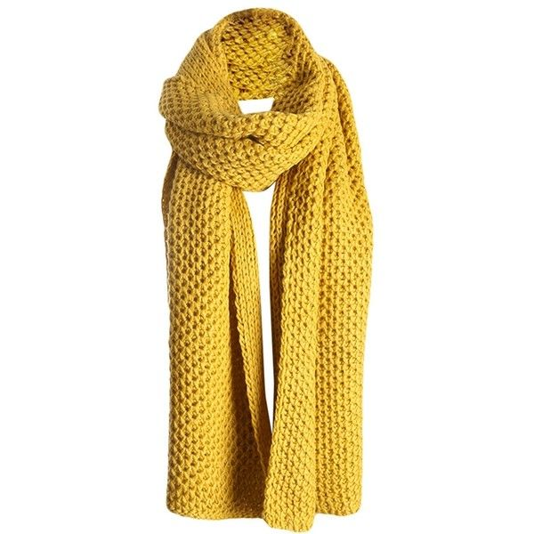 Womens Pretty Winter Warm Knitted Scarf Yellow ($15) ❤ liked on Polyvore featuring accessories, scarves, yellow, yellow scarves y yellow shawl