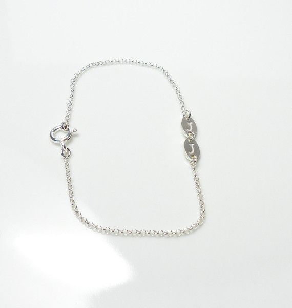 925 Silberarmband ♥ Initialien natur ♥ handgest. von Andressâ auf DaWanda.com
