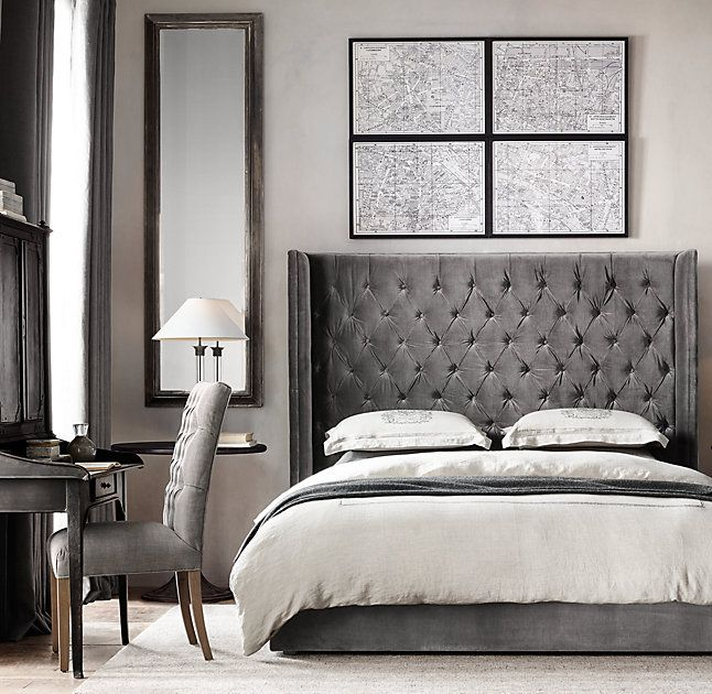RH's Adler Shelter Diamond-tufted Fabric Platform Bed:Merging sleek, midcentury lines with the lavish hand tufting of a more Victorian era, Adler is an inviting, plushly padded retreat.