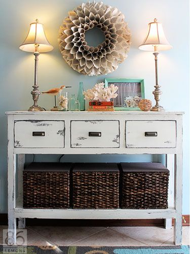 Entry way with storage to keep stuff hidden but accessible. Baskets and drawers for keys, sunglasses, purses and shoes.