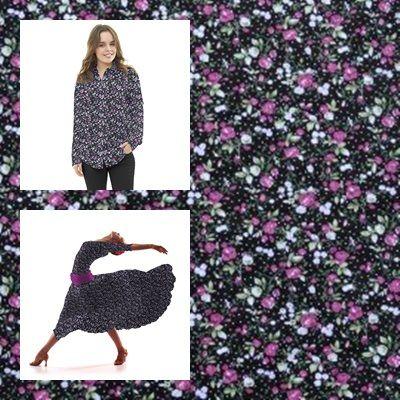 Tela popelín de algodón con estampado liberty con floreado rosa y verde sobre un fondo negro con un pequeño punteado blanco . Popelín flamenca cachemir, sostenido y de tacto muy suave, ideal para la confección de trajes de flamenca, vestidos, camisas y faldas. http://www.aleko.kingeshop.com/Popelin-Liberty-dbaaaakqa.asp