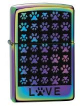 Zippo Lighter: Love, Paw Prints - Spectrum