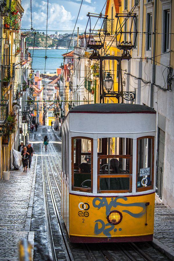 Elevador da Bica, Lisbon, Portugal by Nuno Trindade, via 500px.