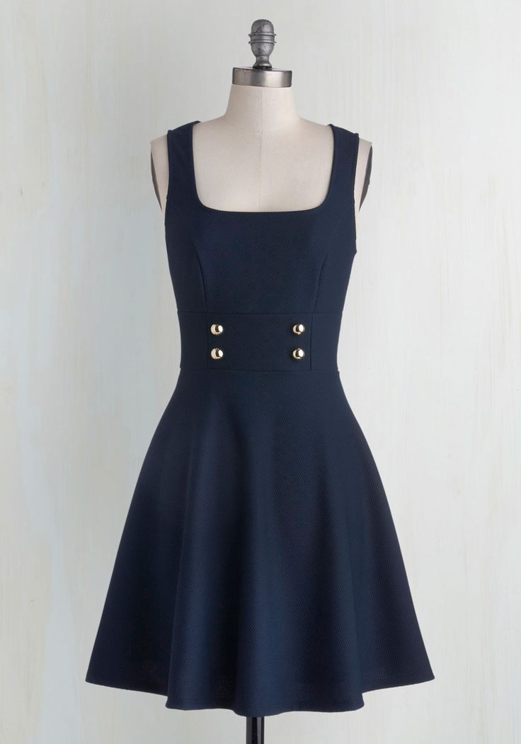 Delightfully Charming Dress in Navy. Your savvy sense of style will command attention when you zip into this navy-blue fit-and-flare! #blue #modcloth