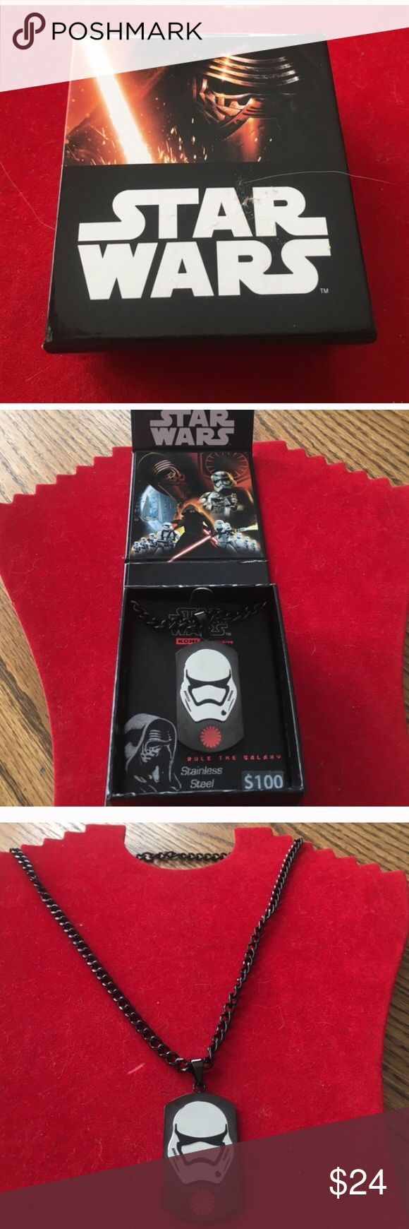 """Stainless steel Star Wars Necklace with free comic This necklace is brand new and comes with foldable box . Original price $100. Chain is black and 20"""" long. Excellent condition. Bonus free star wars comic. Disney Accessories Jewelry"""
