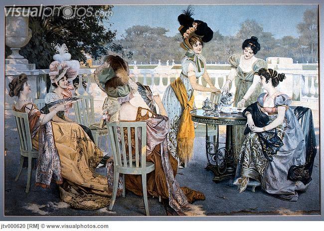 Victorian Era Tea   Group of Women in Victorian-Era Dresses at Outdoor Tea Party, Painting ...