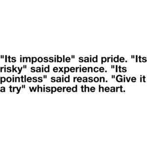 """It's impossible,"" said pride. ""It's risky,"" said experience. ""It's pointless,"" said reason."