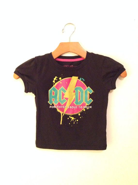 ACDC toddler band tee, kids band shirt, baby band tee, acdc baby shirt on Etsy, $25.00