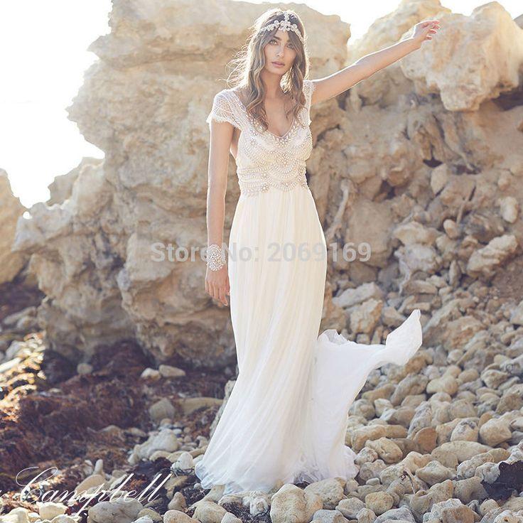 Свадебные платья Novia 2016 Свадебные Платья Строки Sheer Бисероплетение Анна Кэмпбелл Кружева Свадебные Платья Спинки Пляж Свадебные Платья