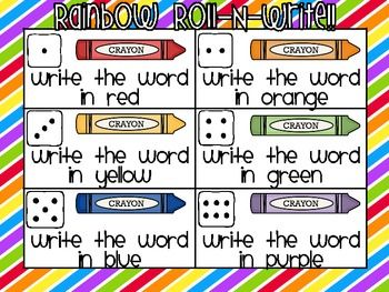 Rainbow Roll-N-Write Reading Street Kindergarten Words - Live Love Laugh Kindergarten - TeachersPayTeachers.com