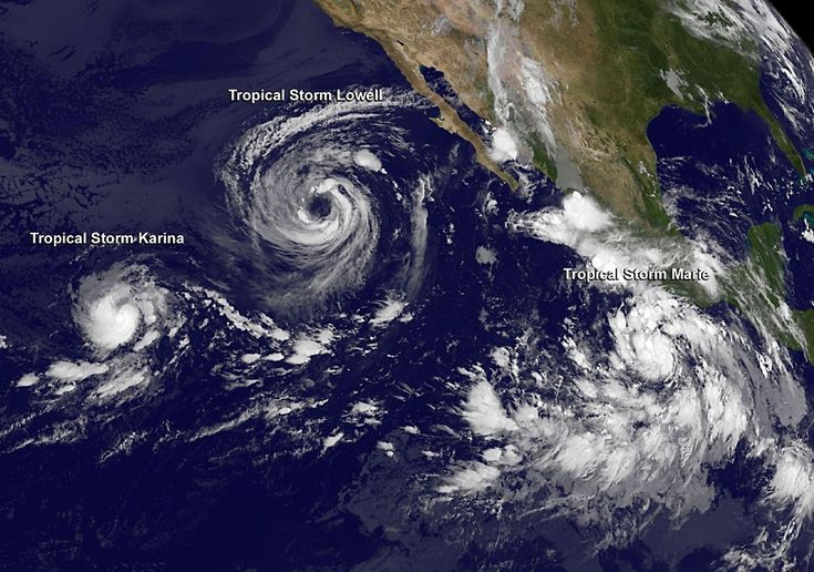 """There are currently three tropical storms in the Eastern Pacific Ocean - Tropical Storm/Hurricane """"Karina"""", Tropical Storm """"Lowell"""" and newly formed Tropical Storm """"Marie"""". Both Karina and Lowell will gradually weaken over the next couple of days. Marie, however, is expected to rapidly intensify and reach major hurricane status (Category 3 or greater on the Saffir-Simpson Wind Scale) by Monday, August 25. - The Watchers"""