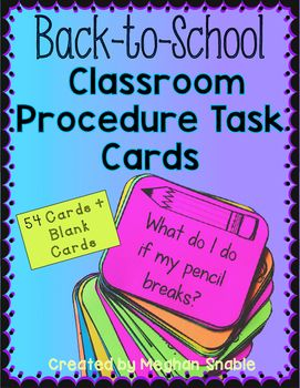 This pack of 54 task cards is a great way to reinforce procedures and routines at the beginning of the year. *Use as a game to quiz your students on the procedures to earn group points. *Use as a speaking and listening activity. *Have students discuss their answers in partners to reinforce the rules.* Turn the cards into a writing assignment.This pack includes 54 task cards plus 12 blank cards.