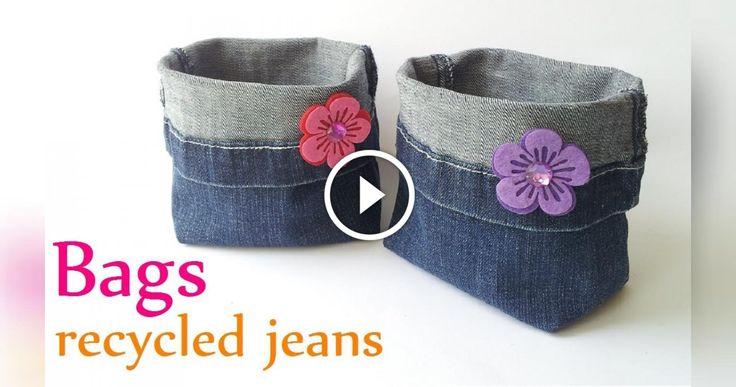 Simpatico portaoggetti realizzato riciclando dei jeans, materiale che si presta molto alla realizzazione borse accessori e quanto altro. La realizzazione ė semplicissima ci servono pochissimi