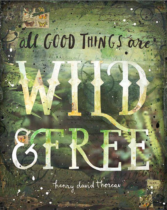 Wild & natuur van de vrije papier print word art door maechevrette