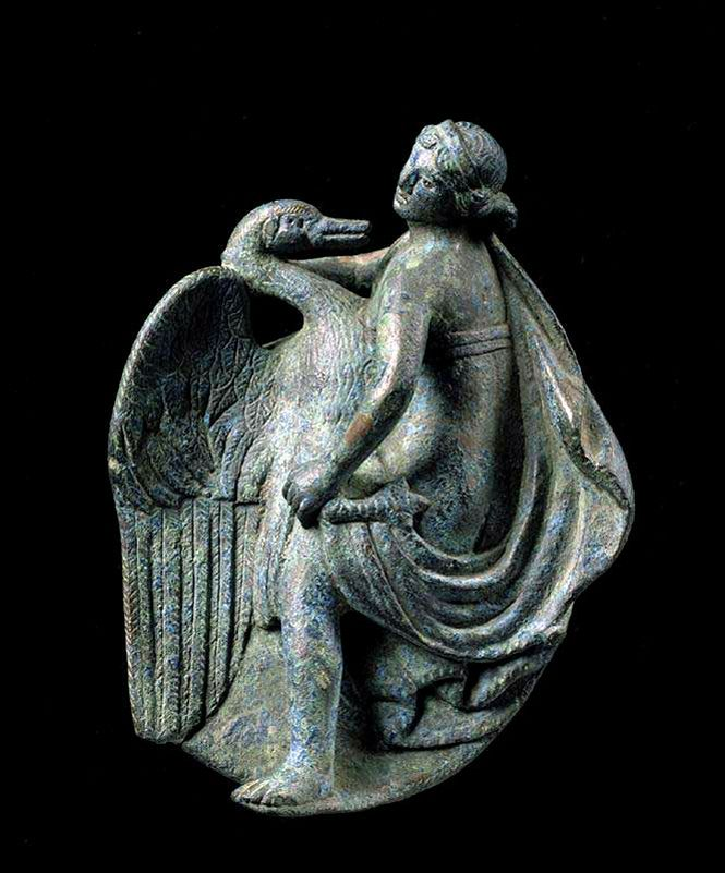Roman bronze applique of Leda and the Swan (circa 1st century AD)