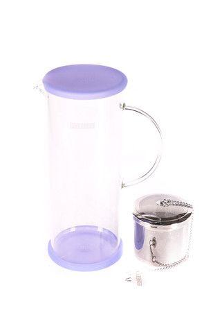 """Pichet à thé glacé """"For Life"""" en verre Lucent de couleur bleu-myrtille"""