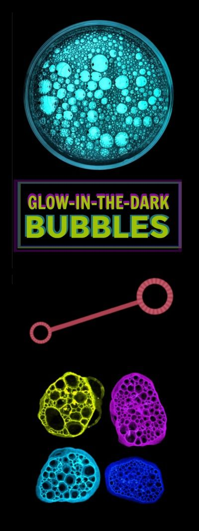 FUN KID PROJECT: Make bubbles that glow-in-the-dark! - night time party fun - outdoor parties - summer DIY - kids parties DIY - easy summer projects for kids