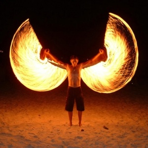 Poi - Fire wings got to try this, goodbye hair.