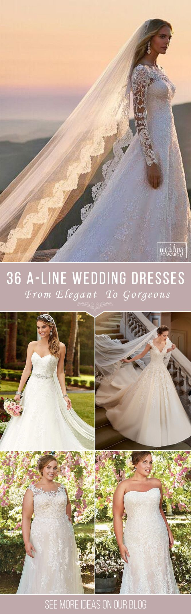 36 Gorgeous A-line Wedding Dresses❤ Elegant wedding A-line dresses for all brides.See more: http://www.weddingforward.com/ a-line-wedding-dresses#wedding#dresses#a-line