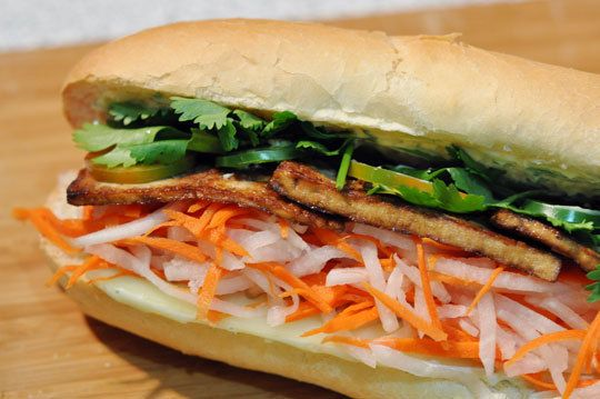Bahn Mi with lemongrass tofu: Loved this! A few changes I would make for next time: Crustier bread, maybe an italian baquette rather than french, and cutting the tofu thinner so it crisps up a little more.