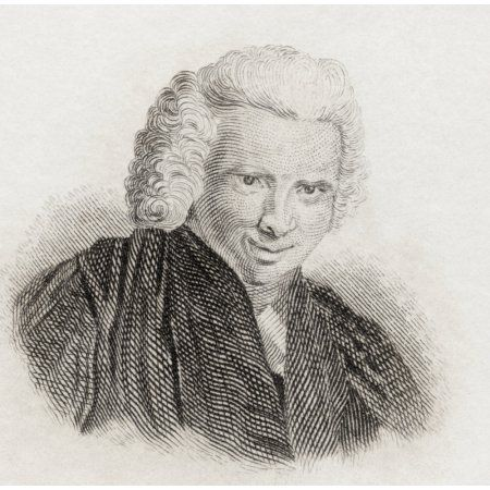 Laurence Sterne 1713 To 1768 English Novelist And Anglican Clergyman From Crabbs Historical Dictionary Published 1825 Canvas Art - Ken Welsh Design Pics (24 x 24)