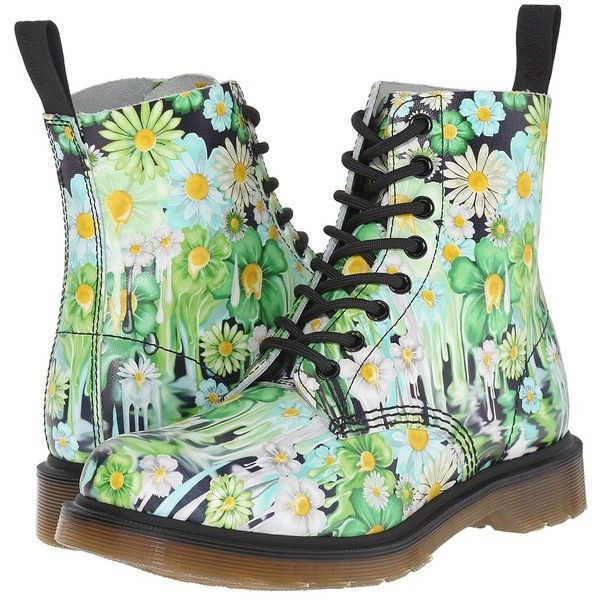 Dr. Martens Pascal 8-Eye Boot Women's Lace-up Boots ($150) ❤ liked on Polyvore featuring shoes, boots, lace up boots, genuine leather boots, floral print shoes, dr martens shoes and floral print boots