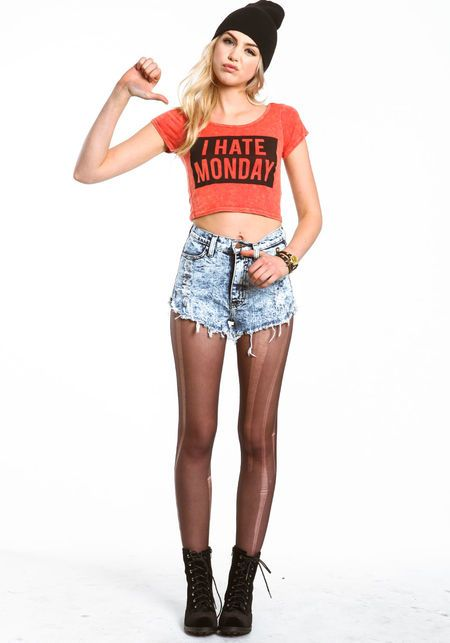 I Hate Monday Crop Top, RED, large