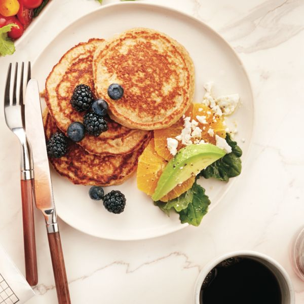 Cottage cheese adds lightness to these low-sugar, whole-wheat protein pancakes. Get the recipe at Chatelaine.com