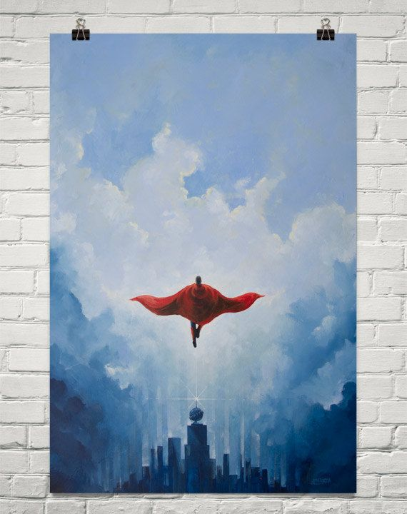 Savior Superman print of an original Superman by VincentCarrozza