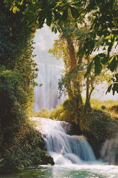 Waterfall Monasterio de Piedra Zaragoza Spain Travel Poster 24x36