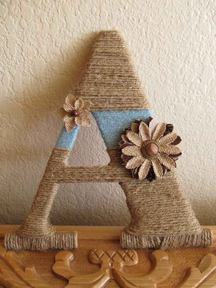 Rustic Twine Wrapped Wood Letters w/ Accent Yarn and Burlap Accessories $15 plus shipping on Etsy! Like www.facebook.com/... to enter GIVEAWAY!!!