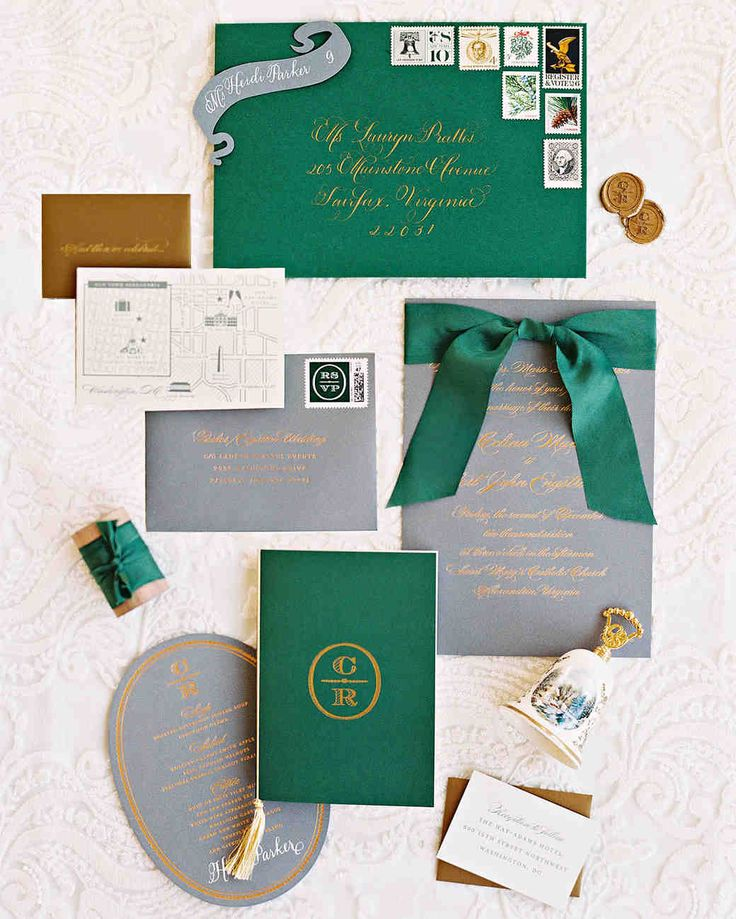 A Christmas-Themed Wedding in Washington, D.C. | Martha Stewart Weddings - The wedding invitation was wrapped in a custom-dyed ribbon, and vintage stamps nodded to the season and the pair's political ties. The suite was mailed in a verdant green envelope with calligraphy.