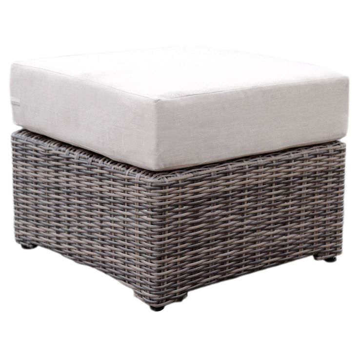 AE Outdoor Cherry Hill Wicker Outdoor Ottoman - 569020-CAST ASH