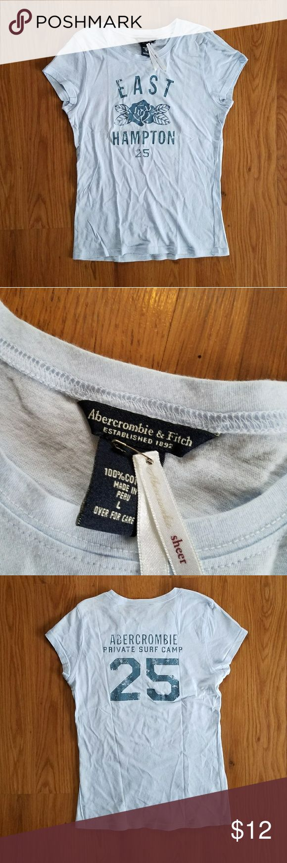 NWOT Abercrombie and Fitch light blue sheer tshirt Vintage late 90s sheer fitted Abercrombie and Fitch tshirt. Dark blue stamped design with a few small rhinestones on the front. 100% cotton. Excellent condition. Abercrombie & Fitch Tops Tees - Short Sleeve