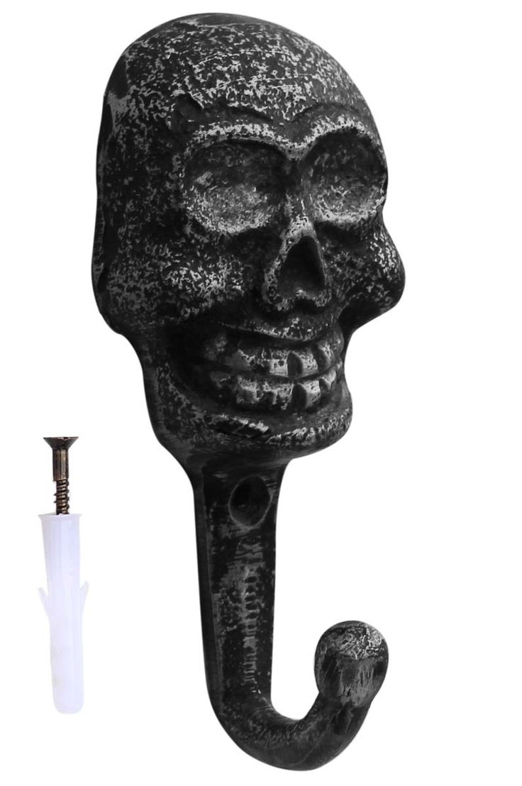 Skull Hook - Distressed Shabby Chic Style – Cast Iron Wall Mounted Single Hook – Grey-Black - Home Wall Décor Halloween Decoration Accessories & Supplies -Buy in Bulk Wholesale