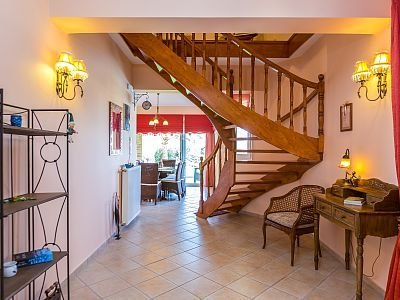 Rethymno villa rental - The hallway and the stairs leading to the first floor!