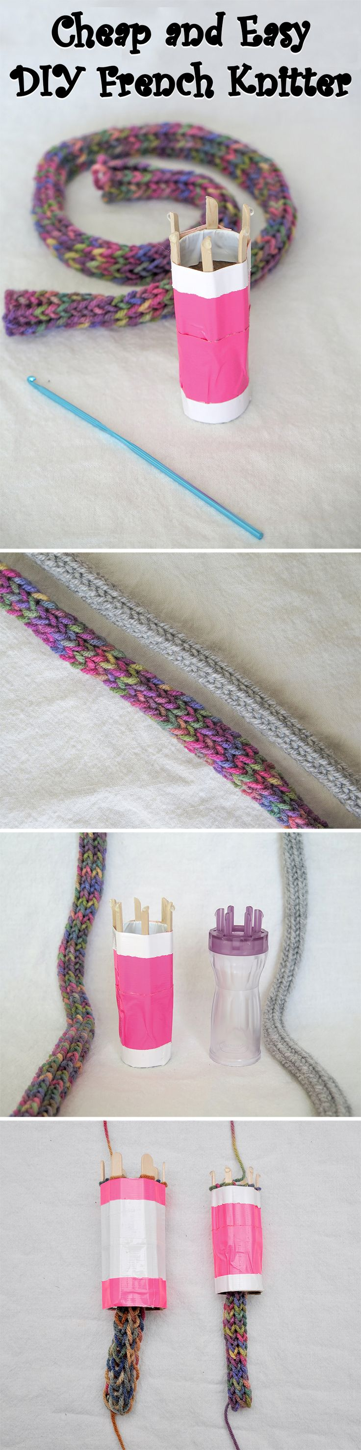 A fun little toy that allows you to easily knit a very long cord.