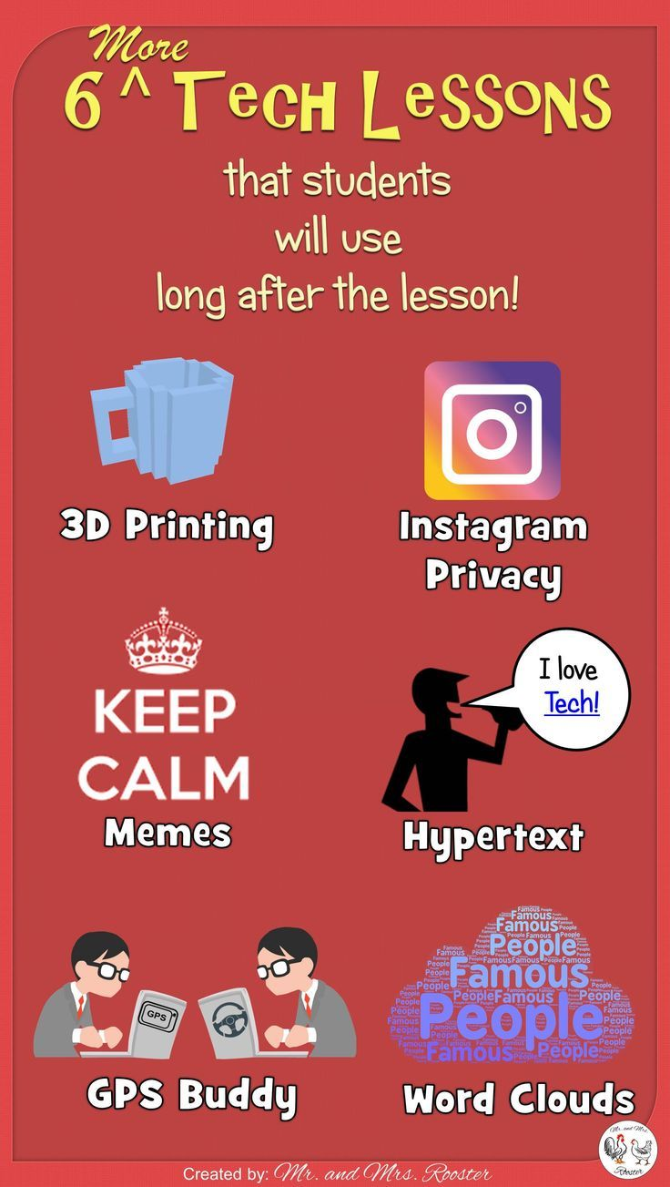 SIX MORE technology lessons that students love! Students will design 3D objects, word clouds, create custom memes, link up hypertexts, research Instagram's privacy policy, and guide their classmates on Google Maps as a personal GPS! Easy copy and paste directions with included attachments for both the teacher and students make these technology lessons any teacher's dream! Grades 3, 4, 5, 6, 7, 8, 9, 10, 11, 12 Tech Lesson; Curriculum; Unit; Project-Based; Classroom; 2017 ISTE & Common Core…