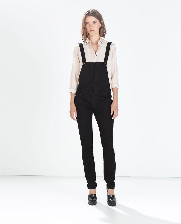 Image 1 of BLACK DENIM SKINNY FIT DUNGAREES from Zara