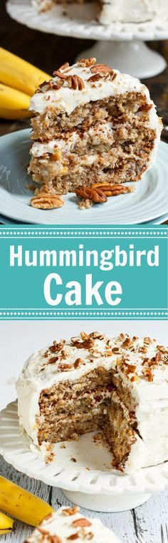 Hummingbird Cake is a dense and moist southern cake flavored with bananas, pineapple, and cinnamon and covered in a rich cream cheese frosting topped with toasted pecans.