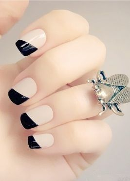 black french tipped pink nails