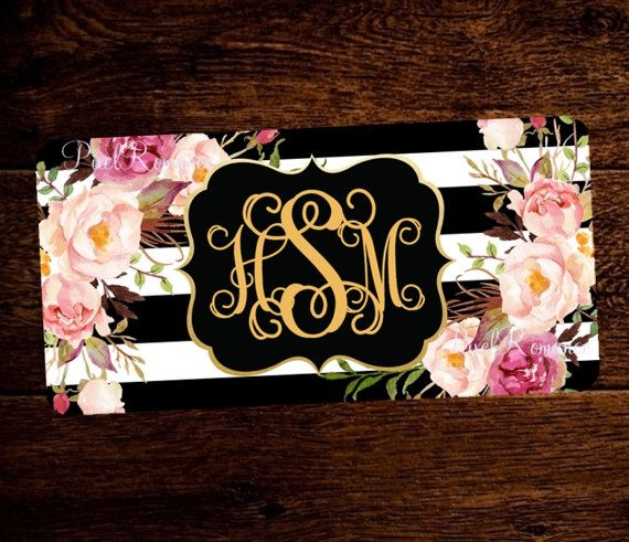 Monogram License Plate Personalized Car Tag by PixelRomance4ever