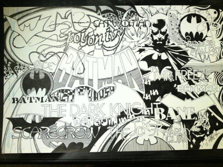 batman words and symbols pen and ink