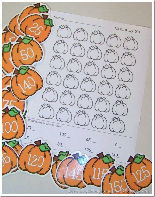 The count by fives pumpkin worksheet is available as a